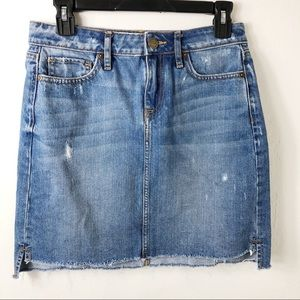 LOFT Blue Denim Step Hem Mini Skirt Cotton 2